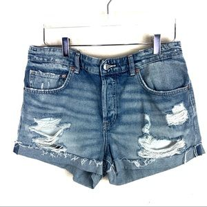 H&M Boyfriend Denim Jean Shorts Trashed Distressed